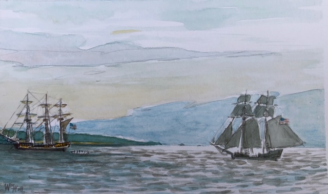 Two American privateers meeting off Newport (Brenton Point off the left) during the Revolution. They, of course, preyed on British ships.    — Watercolor by William T. Hall