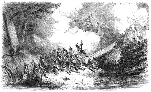 Engraving depicting the colonial assault on the    Narragansett    Indians' fort in the    Great Swamp Fight   , in what is now the State of Rhode Island, in December 1675. It was a massacre, in which about 600 members of the tribe were killed.