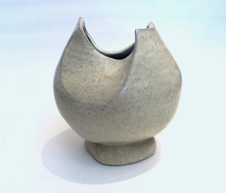 White ceramic vase made by a monk at Weston Priory. On view through Nov. 25. at Dedee Shattuck Gallery, Westport, Mass.