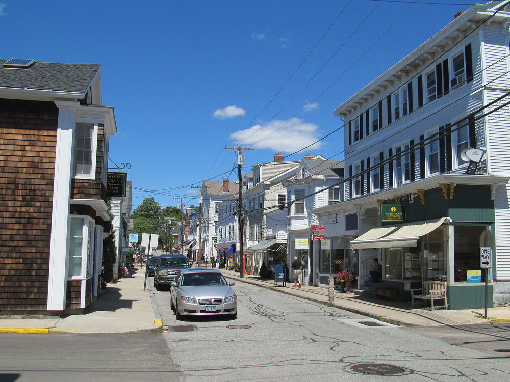 Shops along Water Street in Stonington, Conn.    — Photo by    Pi.1415926535