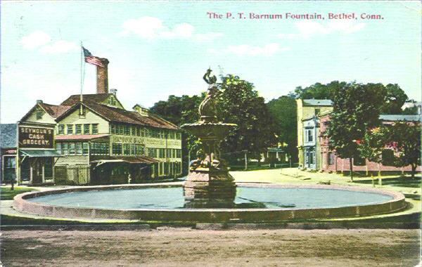 P.T. Barnum Fountain and Square, in Bethal, Conn., circa 1914.