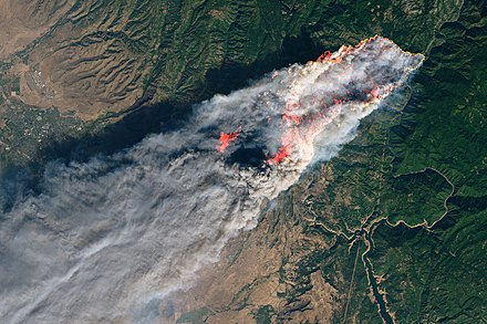 California's disastrous Camp Fire as seen from the    Landsat 8    satellite on Nov. 8.