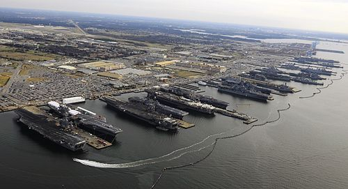Naval Station Newport, which the Navy fears is threatened by flooding caused by global warming.
