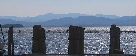 View from Burlington across Lake Champlain toward the Adirondacks.