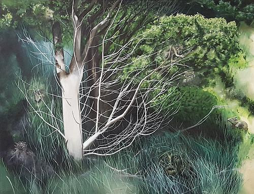 """The Magic Tree'' (oil on canvas), by Joan Baldwin, in her show ""Unkempt Gardens,'' at Kingston Gallery, Boston, through Dec. 30."