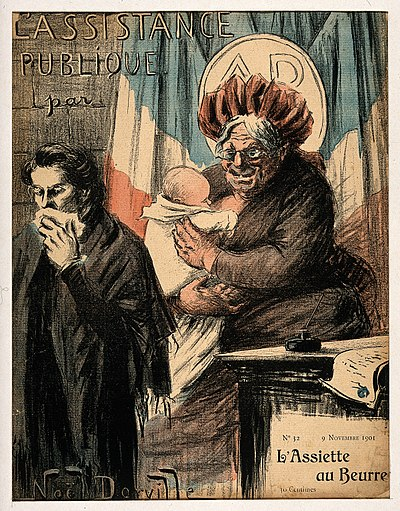 An old wet nurse symbolizing France as nanny-state and public health provider (color photomechanical reproduction of a lithograph by N. Dorville, 1901).
