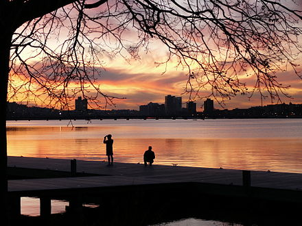 A December sunset along the Boston side of the Charles River,