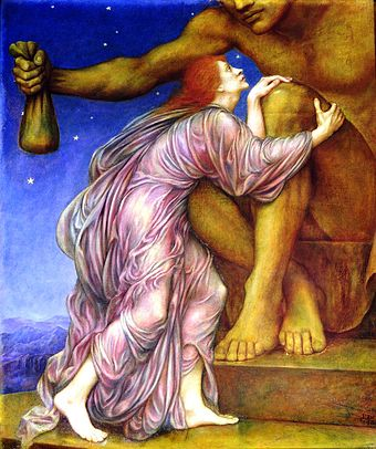 """1909 painting  """" The Worship of    Mammon   ,'' by    Evelyn De Morgan   ."""