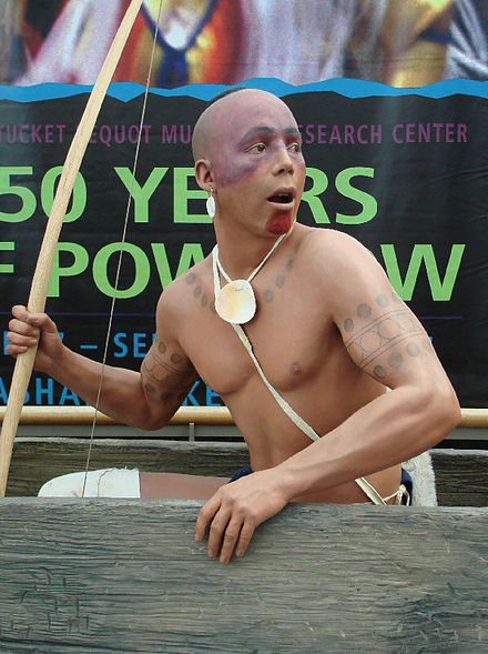A man displaying himself as a Pequot warrior at the  Pequot Museum  at the Foxwoods casino in Connecticut