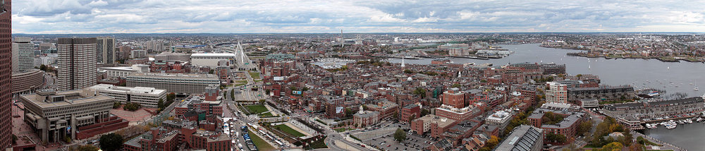 From left to right:    Boston City Hall   , the    West End   , the    North End   ,    Charlestown   ,    Boston Harbor    and    East Boston   .