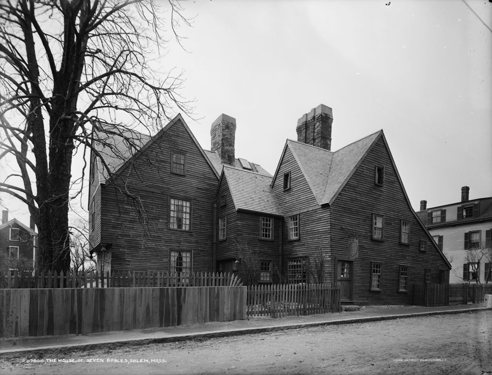 The House of the Seven Gables, built in Salem in 1668, in a 1915 photo. Nathaniel Hawthorne's famous novel of the same name derives in part from his ruminations on the Puritan past of his family.