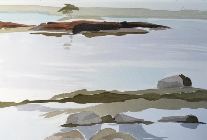 """""""Isle'' (watercolor on paper), by Connie Glore, at Alpers Fine Art, Andover, Mass."""