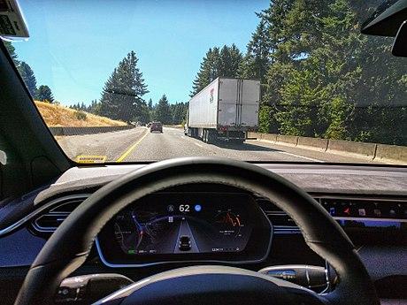 Inside a Tesla self-driving car.