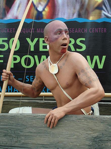 Pequot Museum    exhibit showing a version of a Mashantucket Pequot warrior at the Pequots' vast Foxwoods casino.