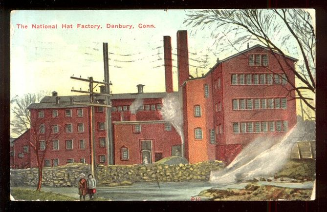 At the time this postcard was printed, in 1912, Danbury was the hat-making capital of America.