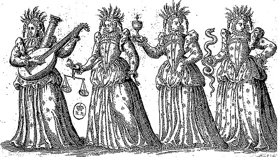 An image personifying the four virtues  (  Ballet Comique de la Reine  ,  1582).
