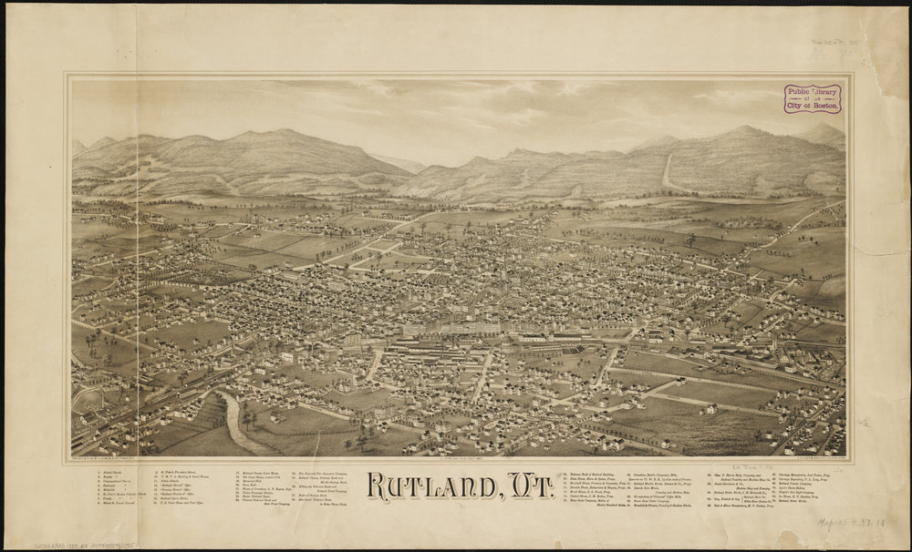 Map of Rutland in 1885, when marble quarries were making it very prosperous.