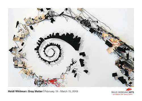 """This show, will be Maud Morgan Arts Chandler Gallery, in Cambridge, Mass., Feb. 19-March 15. The gallery describes it:  ''Thoughts and dreams don't simply appear in our heads, though they often feel sudden and random. Instead, they travel from one part of our brains to another, creating a path of neurons and reactions that ends in our consciousness.''  """"'The title refers to both my central interest in the mind, particularly memory, and to my materials,""""' she explained."""
