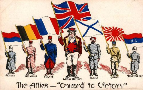 A postcard from 1916 showing    national personifications    of some of the    Allies of World War I   , each holding a national flag.