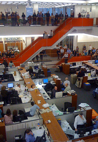 In The New York Times newsroom.