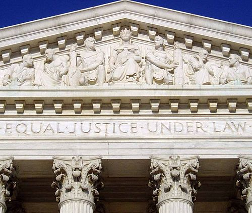 The front of the   U.S. Supreme Court Building.