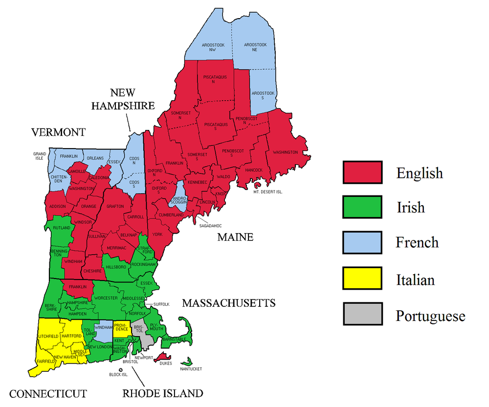 Self-reported ethnicity in New England    — Map by the southernhistorian45