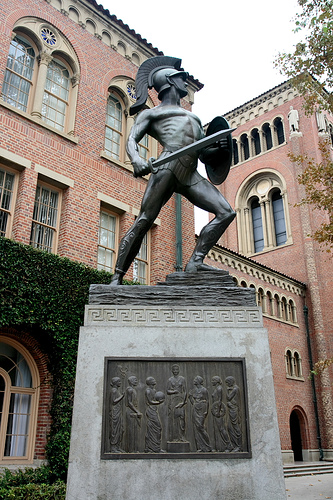 """The unfortunately nicknamed """"Tommy Trojan'' statue on the campus of the University of Southern California."""