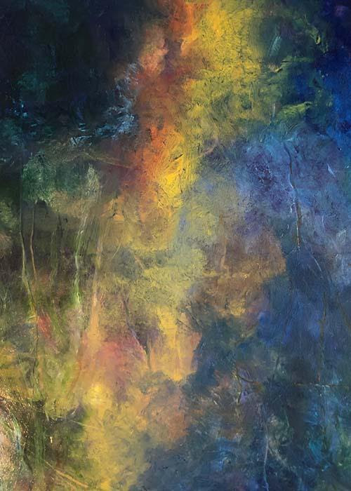 """''Meditation #9'' (oil on canvas), by Betsyann Duval, in her show """"Time Out: Meditations and Relections,'' at Bromfield Gallery, Boston, through March 31. Her photographs and paintings examine reflections in water as a place of refuge."""