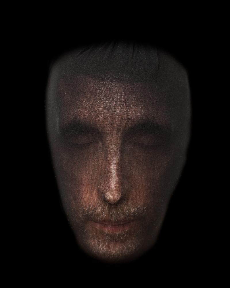 """""""Face Object #1 '' (archival inkjet print from digital photo), by David Weinberg, in the show """"If You Could See What I See,'' by Louise and David Weinberg, at Galatea Fine Art, Boston, May 1-June 2. The gallery says that the pictures in the show were produced during Louise Weinberg's 15-year struggle with a rare neurologic disease that shares some features with Parkinson's Disease. This illness and side-effects of medications have affected both her physical abilities and her mental state, """"producing vivid hallucinations and altered perception''.    Galatea says that through discussion with Louise, David Weinberg has produced photographic images that """"attempt to depict the visions that Louise experiences. Louise has arranged fragments cut from her drawings and paintings into collages that spring from her unconscious. The works arise from the many degrees of cognitive changes stimulated by the medications treating the neurological illness.''"""
