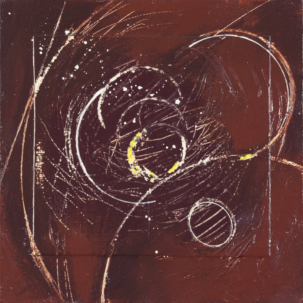 """SOLD - Cosmos 1, 8"""" x 8"""", mixed media on paper mnt. on wood"""
