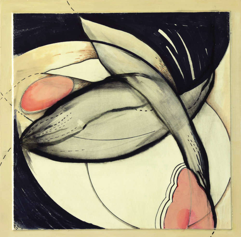 """Hatching Spring 2, 10"""" x 10"""", mixed media on paper mntd. on wood"""