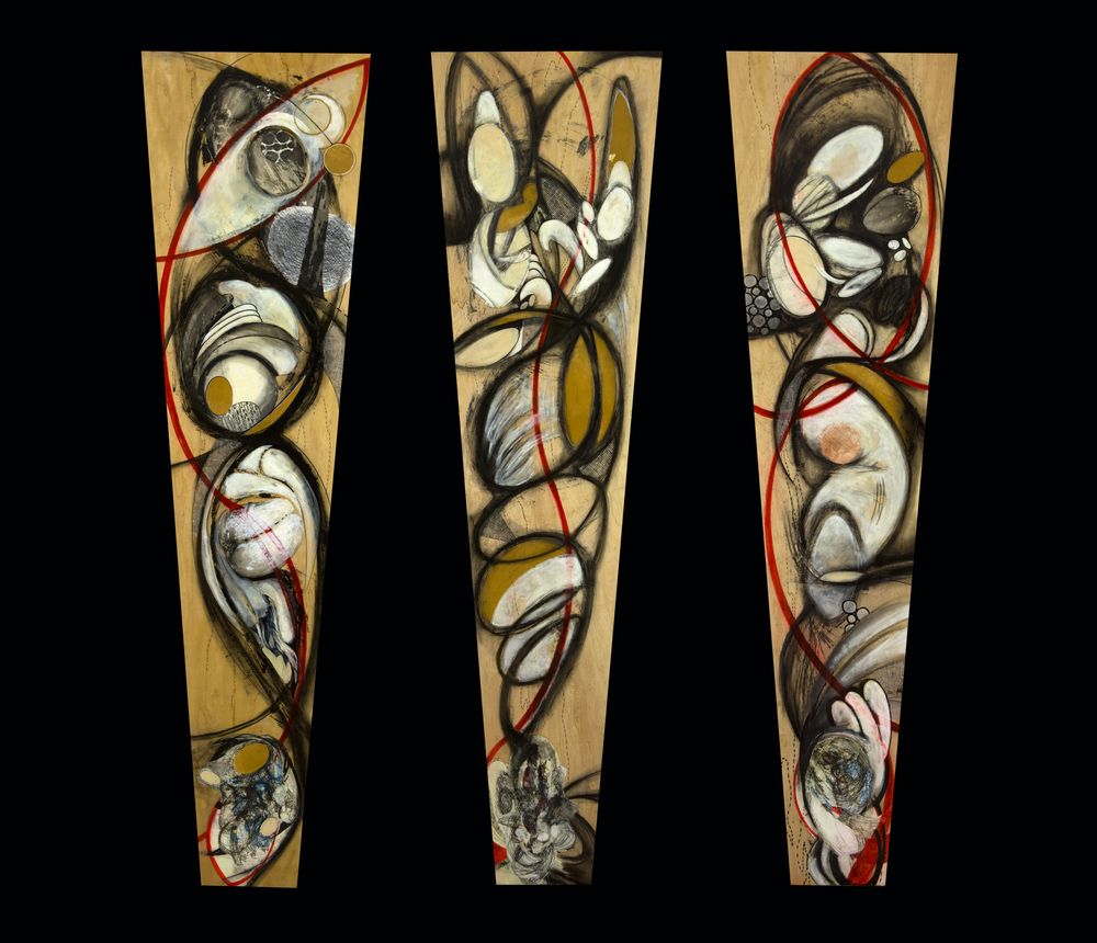 Synergy 1, 2, 3 (displayed as a triptych)