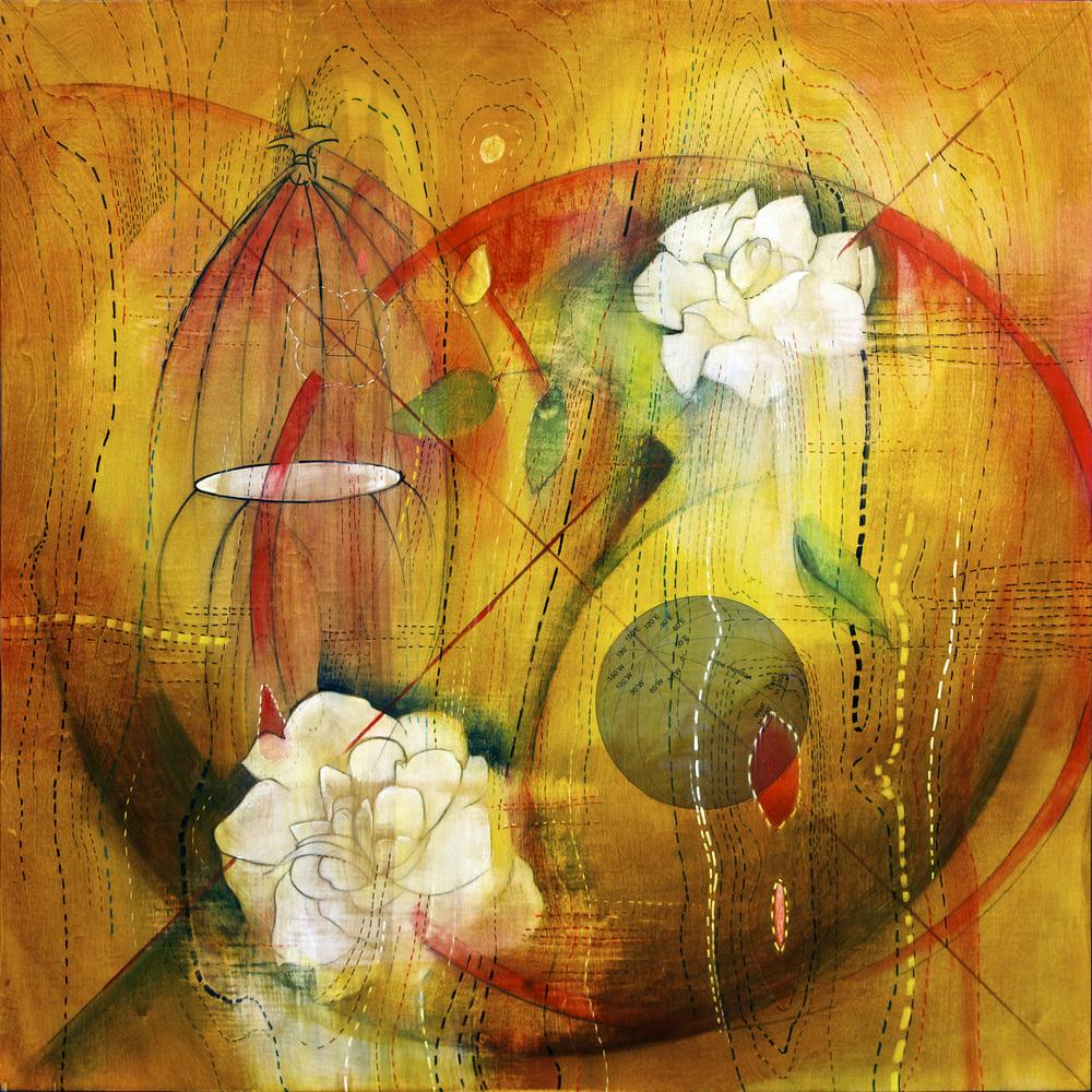 "Rose Garden, 36"" x 36"", mixed media on wood"