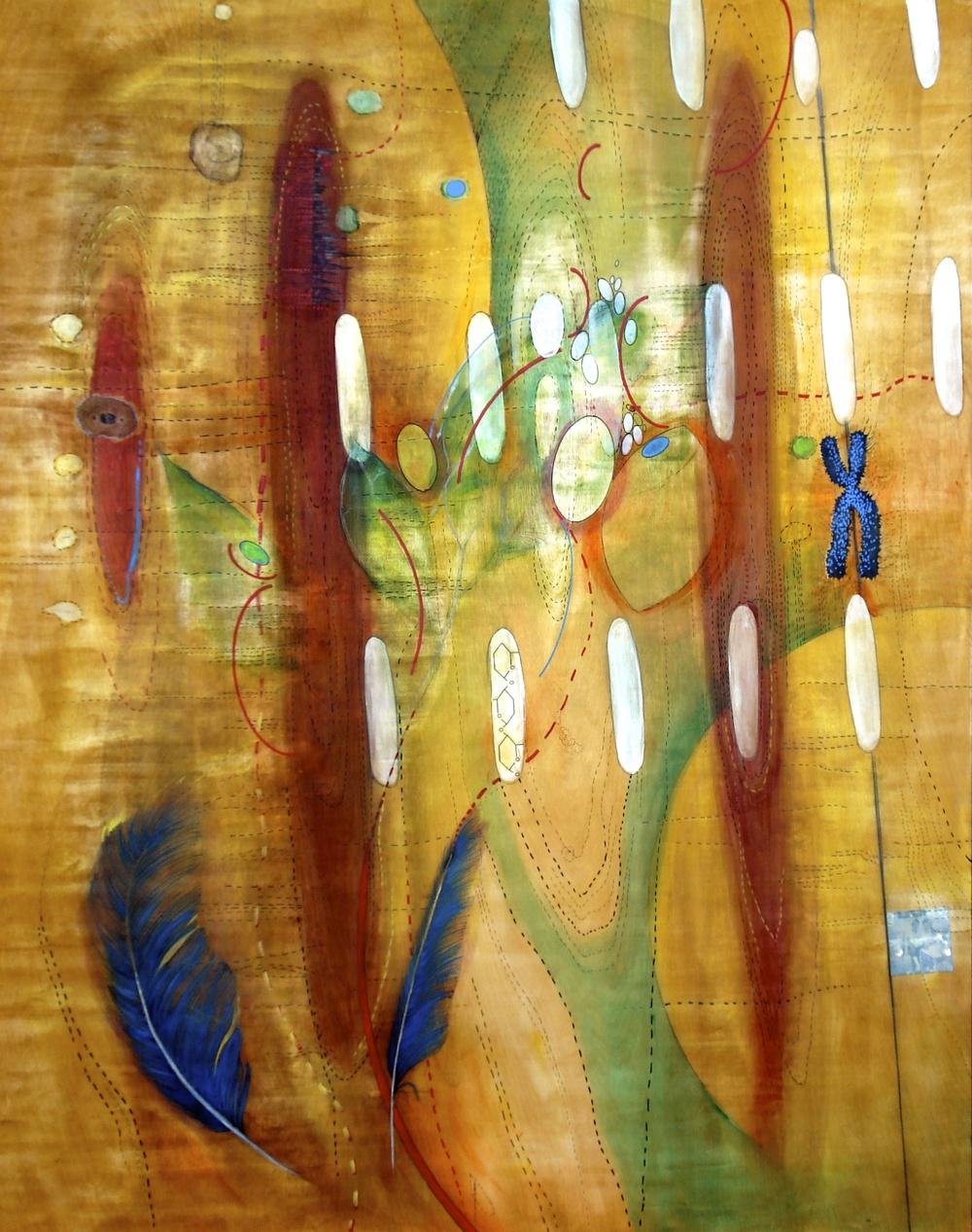 Evocation, 5' x 4', mixed media on wood