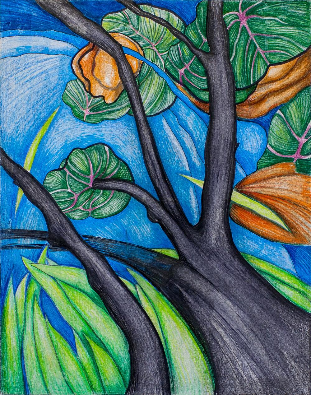 """Blosom Tree""  14""h x 11""w mm on paper mnt on wood"