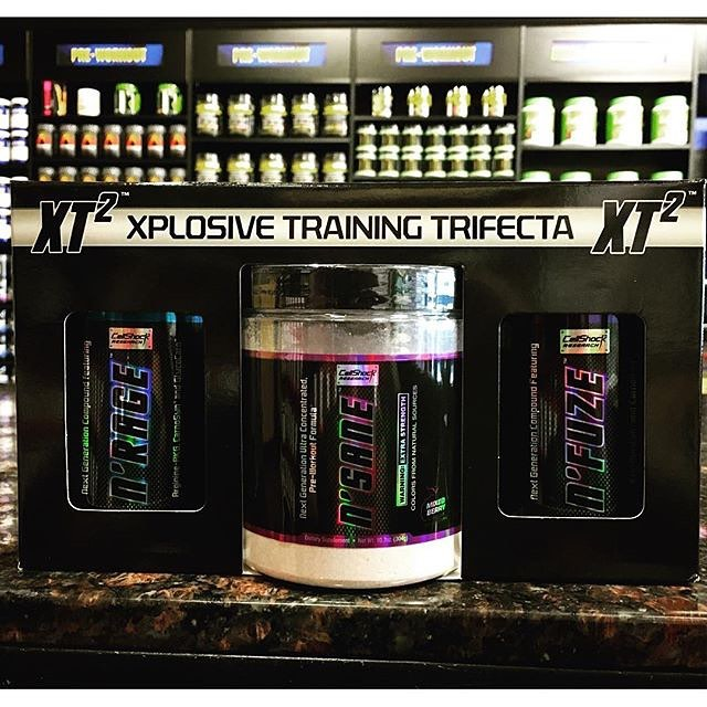 Supercharge your workouts. Build more muscle. Increase your strength, power, muscular endurance and pump out more reps!  Xplosive Training Trifecta is your one stop box for all of these performance boosting training benefits.  XT2 is a training stack that includes:  N'sane preworkout: a high stimulant preworkout that will give you the energy to power through tired gym sessions with ease.  N'rage nitric oxide booster: a highly dosed NO boosting product that will increase your pump and give you more blood flow and nutrients to the muscle allowing for longer, more efficient training sessions.  N'fuze Kre-alkalyn: the next generating creatine supplement that will not only increase ATP resulting in more strength and power, but will also buffer lactic acid and improve work capacity with superior absorption.  All products are 20% off when purchased in the stack. So come pick yours up today!
