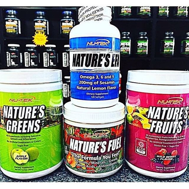Never go a day without taking our Natures Daily Essentials Kit‼️ Completely natural and a nutritional formula of vitamins and antioxidants 💪💥 • Nature's Fuel is a quick dissolving powder formula daily multivitamin that will improve natural energy and boost your immune system 💪😍 • Nature's Fruits are also quick dissolving powder formula taken daily and they provide all the nutritional benefits of over 35 certified organic super without the sugars 😍😍😍 • Nature's Greens are a quick dissolving powder formula that is taken daily and include more than 40 certified organic super foods that aid in keeping the body in an alkaline/non-acidic 💪💪💪💪 • Nature's EFA is a complete blend of Omega 3, 6, and 9 that is taken twice daily and is designed to support vital bodily functions 💪 Come in and find out more on why you need your daily vitamins💥