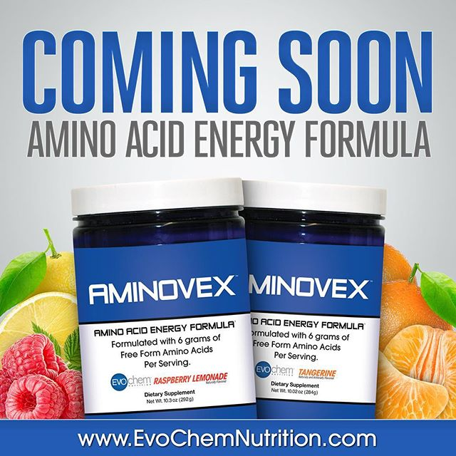 Coming soon: AMINOVEX • Amino Acid Energy Formula • Formulated with 6 grams of Free Form Amino Acids Per Serving