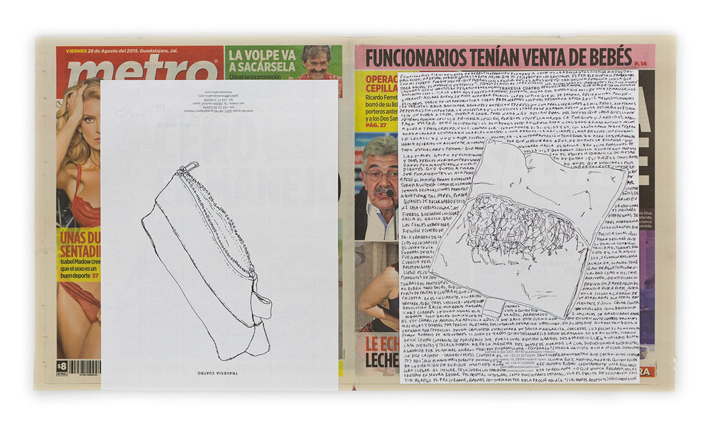 Political Drawing (Metro: Guadalajara, Mexico, Viernes 28 Agosto 2015)    2015   Ink on paper, daily newspaper  12 1/2 x 22 3/4 inches   Drawings, 2014–