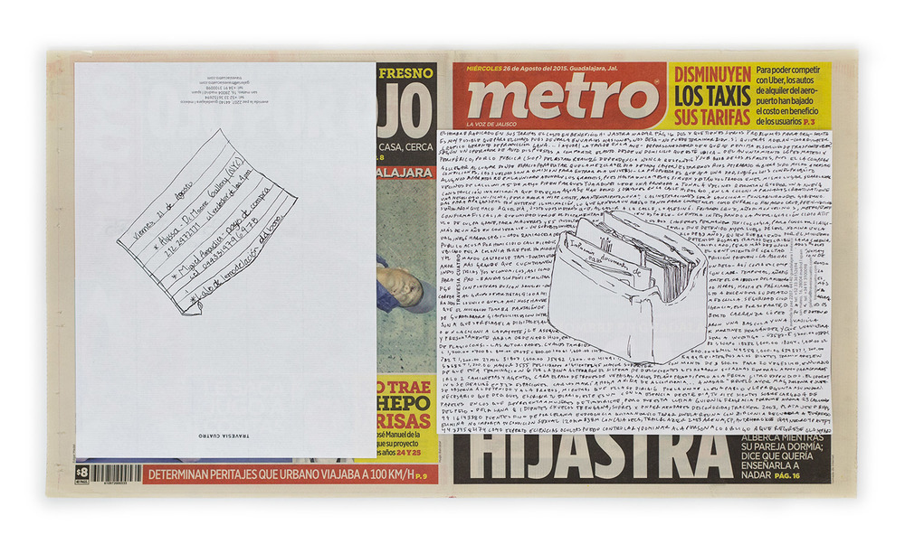 Political Drawing (Metro: Guadalajara, Mexico, Miércoles 26 Agosto 2015)    2015   Ink on paper, daily newspaper  12 1/2 x 22 3/4 inches   Drawings, 2014–