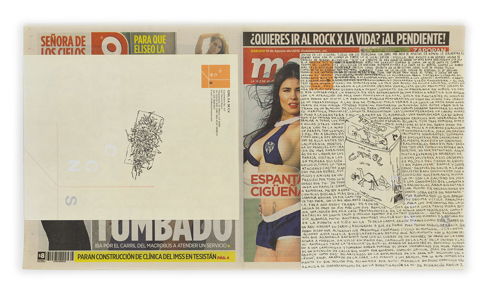 Political Drawing (Metro: Guadalajara, Mexico, Sábado 15 Agosto 2015)    2015   Ink on paper, daily newspaper  12 1/2 x 22 3/4 inches   Drawings, 2014–