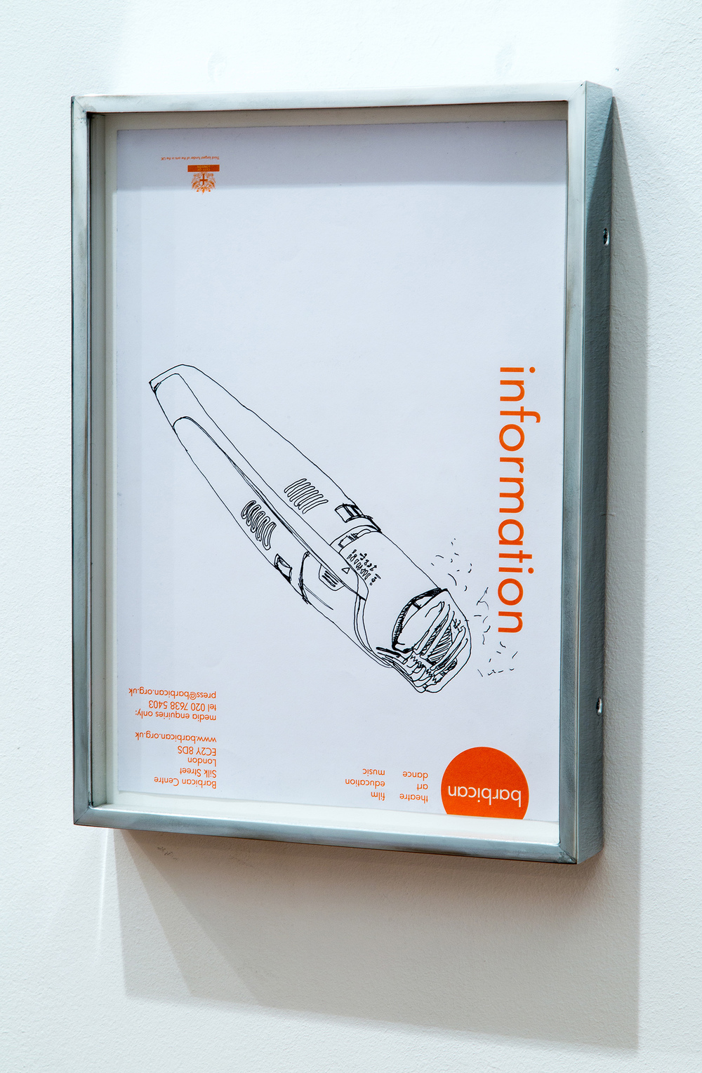 Philips Norelco TR980 Turbo Vacuum Trimmer (broken), Great Arthur House, #44, Fann Street, Golden Lane Estate, London, EC1, September 17, 2014    2014   Ink on paper  12 1/2 x 10 inches   Drawings, 2014–