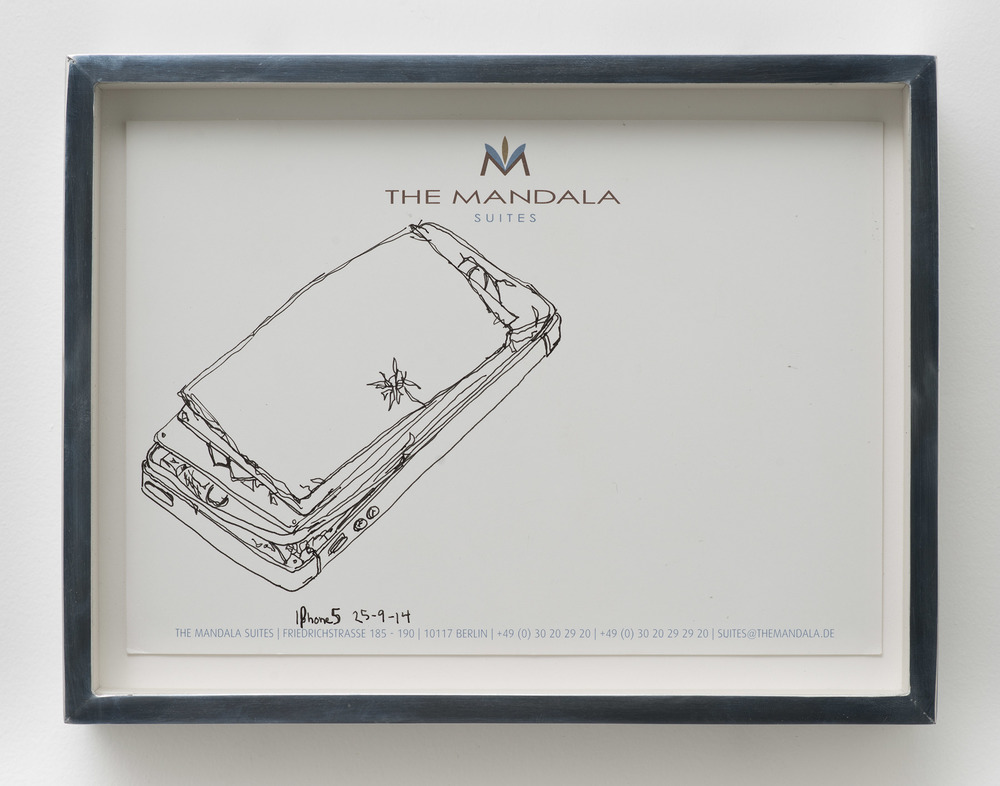 iPhone 5 A1429: The Mandala Hotel, Berlin, Germany, September 25, 2014    2015   Ink on letterhead  7 1/4 x 9 1/2 inches   Drawings, 2014–