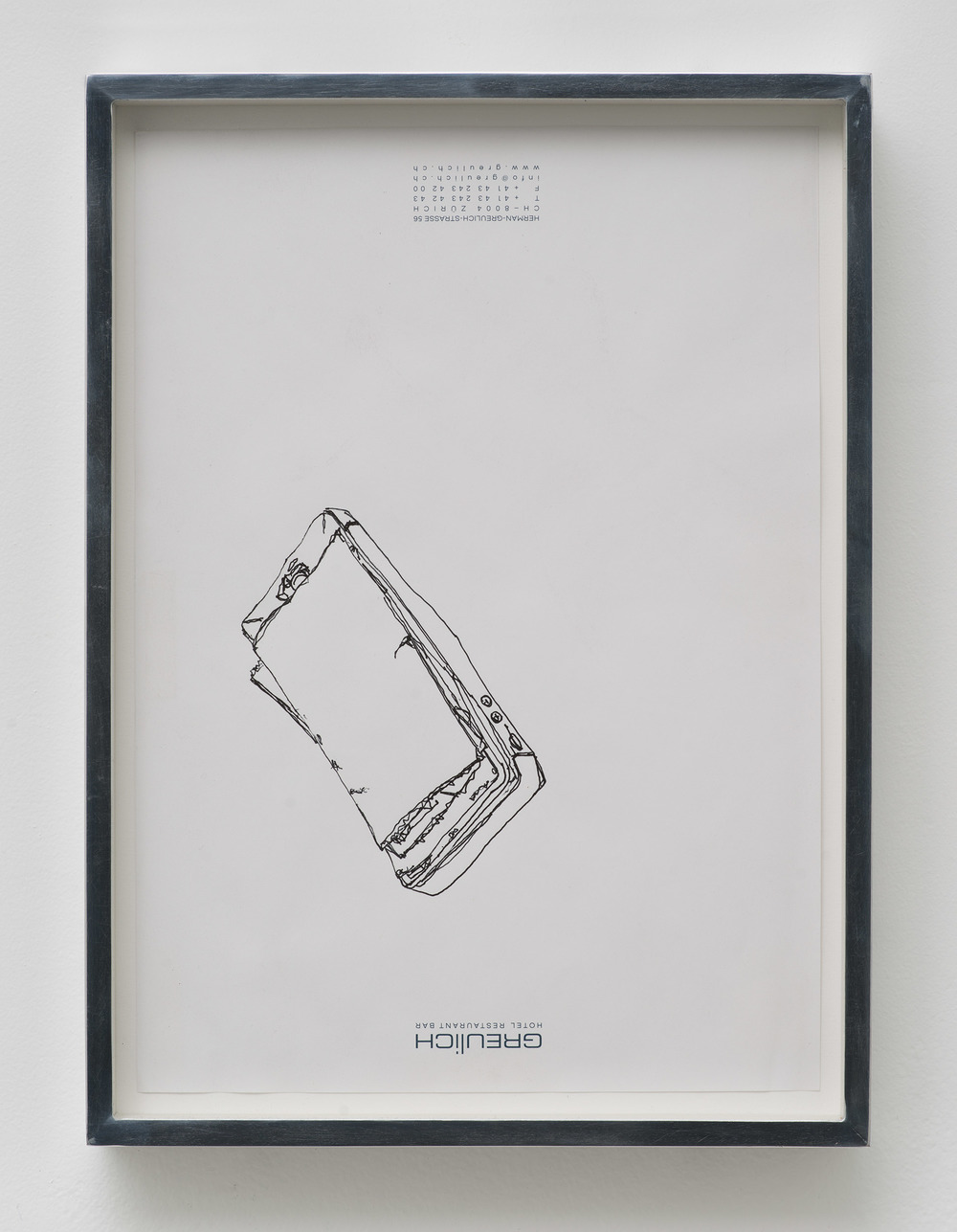 iPhone 5 A1429: Hotel Greulich, Zürich, Switzerland, September 26, 2014    2015   Ink on letterhead  12 7/8 x 9 1/2 inches   Drawings, 2014–
