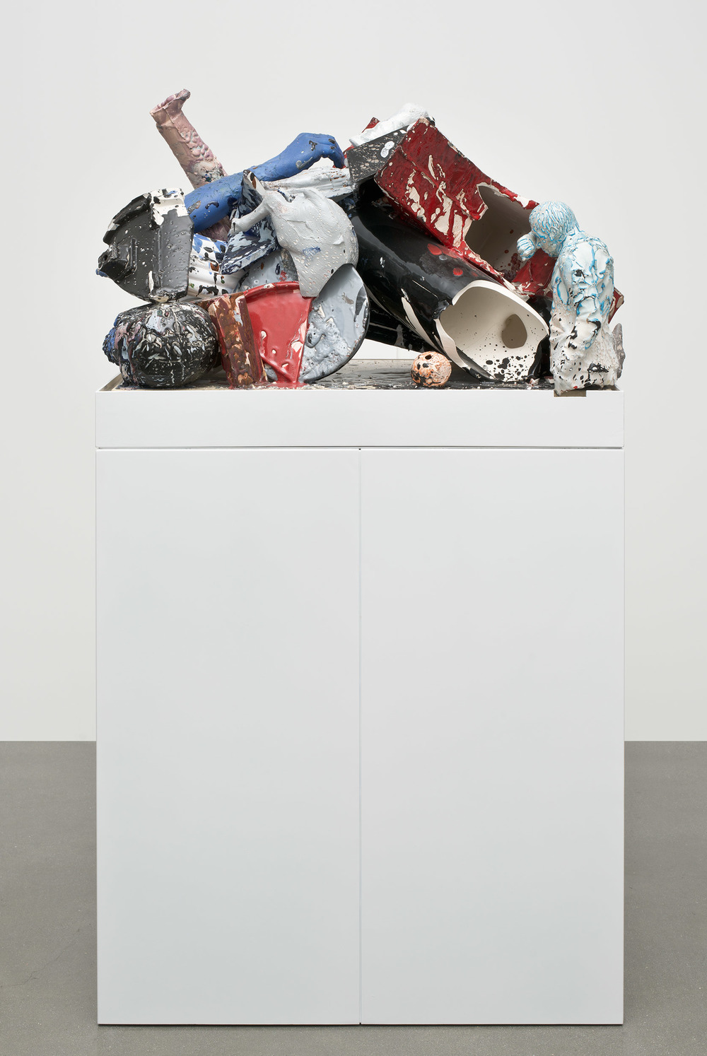 Aggregate XIX (August 20th–22nd, Cerámica Suro, Guadalajara, Jalisco, Mexico)    2013   Ceramica Suro slip cast remnants, glaze, and firing plate  38 x 20 1/2x 20 inches   Ceramics, 2013–
