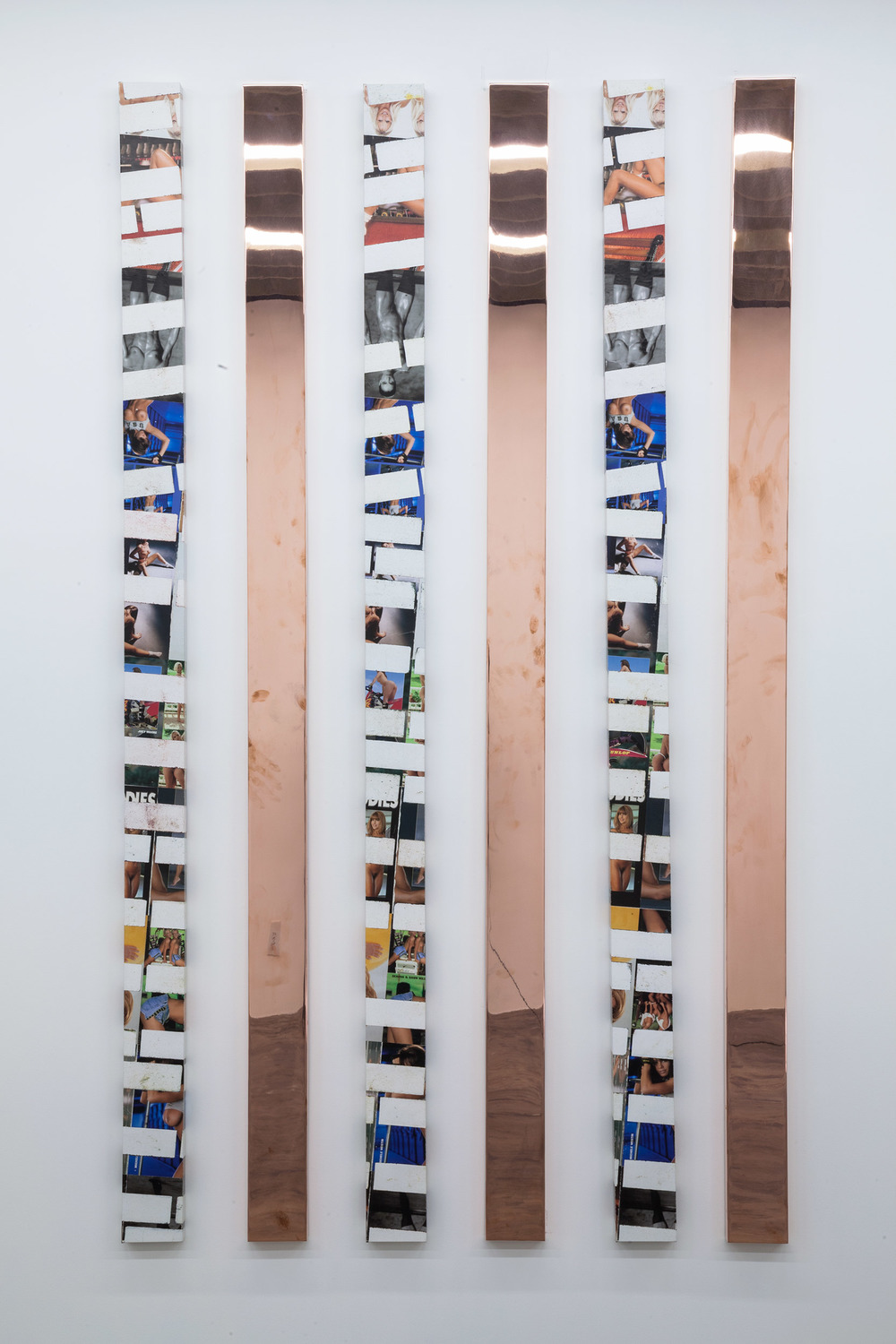 Walead Beshty and Kelley Walker   Hardbody Software (February 26/May 14, 2014, Los Angeles, California)    2014–   Acrylic and ink on canvas, polished copper  96 x 5 inches each