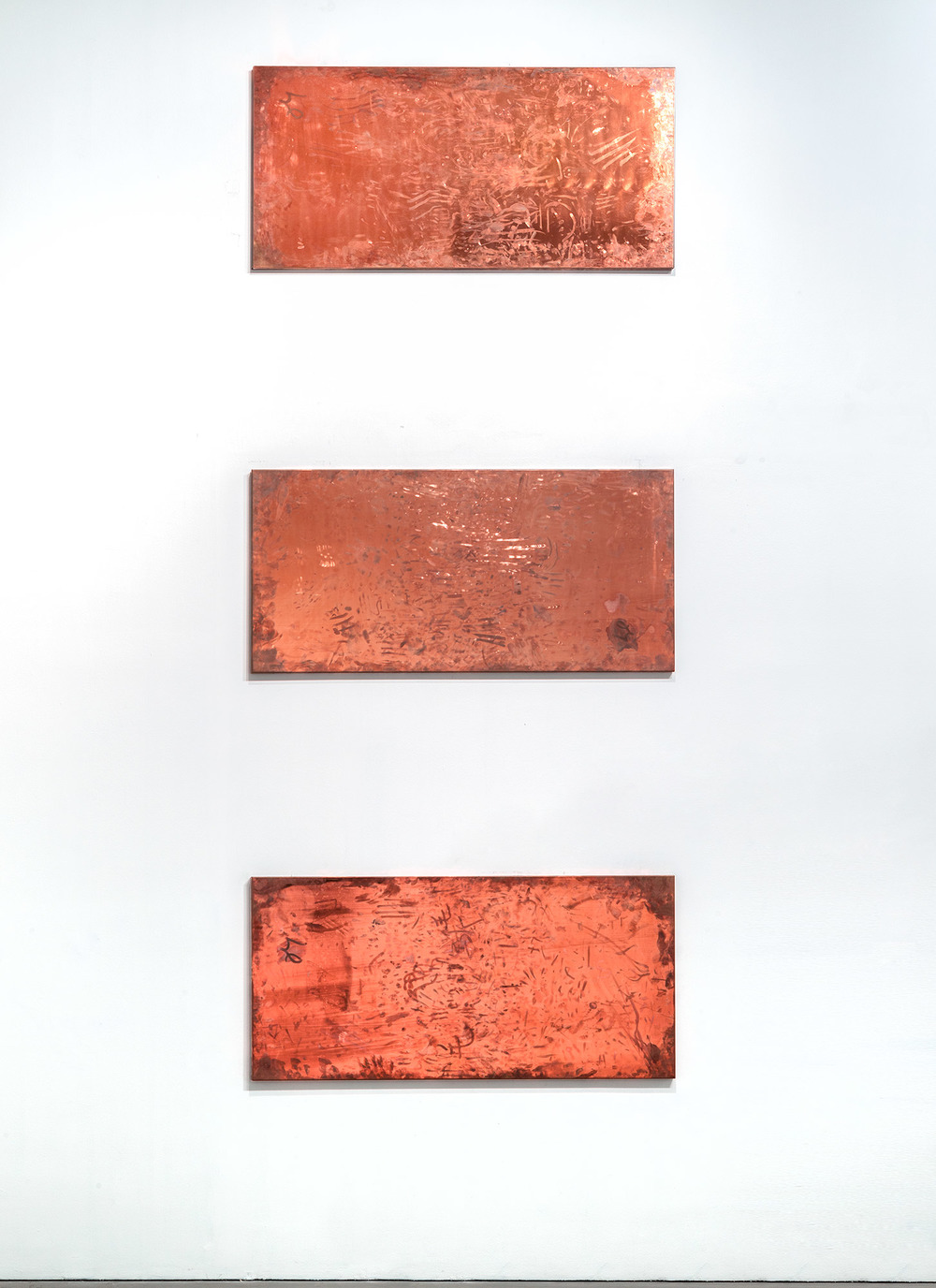 Copper Surrogates (September 20–23/November 21–23, 2011, Beijing, China, June 13–18/November 21, 2012Los Angeles, California, November 29–December 3, 2012, Miami Beach, Florida)    2011   Polished copper  35 1/2 x 74 3/4 x 1 1/2 inches each   Surrogates (Full Sheet, Art Handling), 2011–