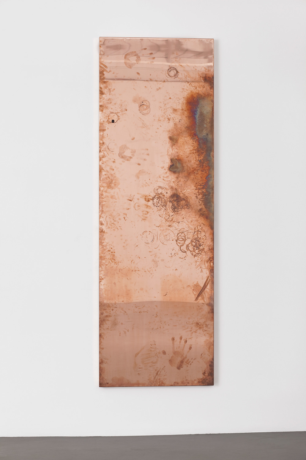 Copper Surrogate (Table: designed by Artistic Concepts, 2007; Regen Projects, Los Angeles, California, July 17–August 21, 2010)    2011   Polished copper and black powder-coated steel  Table: 28 x 85 x 1 1/2 inches; Base:47 1/4 x 28 1/8 x 18 3/8 inches   Surrogates (Tabletop and Desktop), 2008–