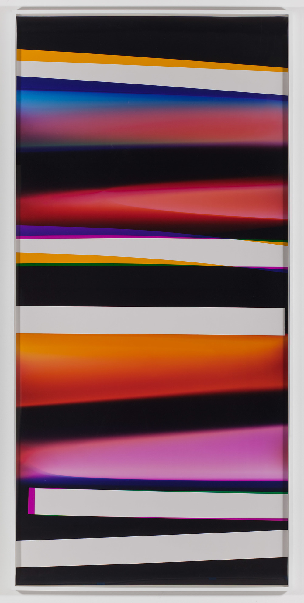 Walead Beshty: Natural Histories, Walead Beshty and Lionel Bovier eds. (Zurich: JRP Ringier, 2011) pp. 126–127    2011   Light jet print in custom plexi box  108 1/2 x 51 1/2 x 7 inches   Black Curls, 2010–2013