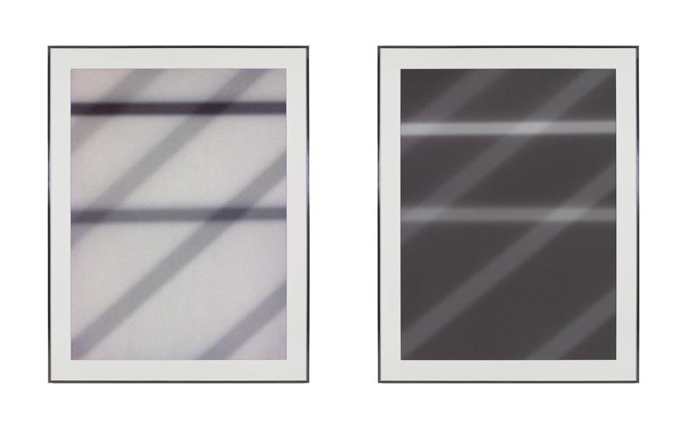 Transparency (Positive) [Fujichrome RDPIII Provia 100F Em. No. 05481: April 25–29, 2011 LAX/SFO/PEK PEK/SFO/LAX];Transparency (Negative) [Kodak Portra 400NC Em. No. 2051: April 25–29, 2011 LAX/SFO/PEK PEK/SFO/LAX]    2011   Epson Ultrachrome K3 archival ink jet print on Museo Silver Rag Paper  68 x 52 1/4 inches each   Transparencies, 2008–2014